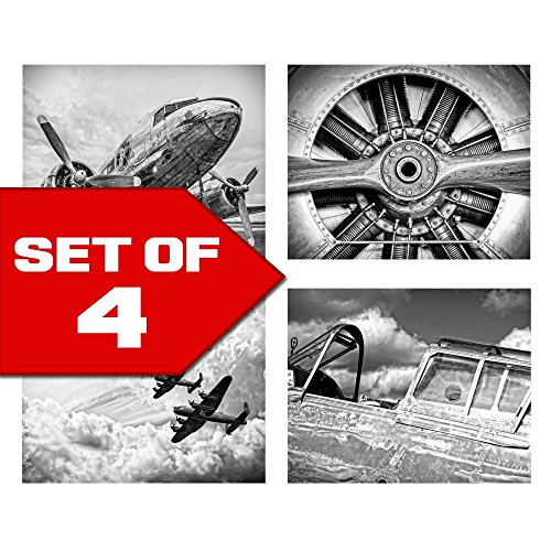 Wallables Wall Decor (Classic Black & White Vintage Aviation Wall Art, Set of Four 8x10 Airplane Theme Decor Prints, Great for Mens gift, office, home, bachelor pad, Barbershop Decoration! Only at Wallables!)