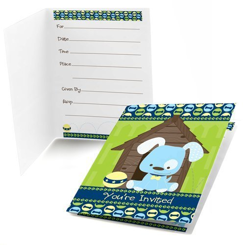 Boy Puppy Dog - Fill-In Baby Shower or Birthday Party Invitations (8 count) ()