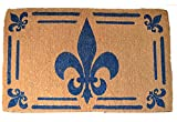 Door Mats - Blue Fleur De Lis Traditional Coir Doormat - 30'' X 48'' - Door Mat