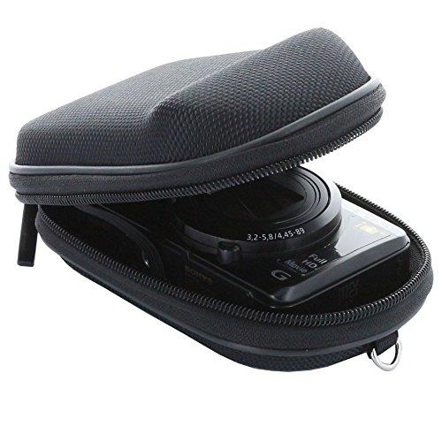 Smart-Planet® Kameratasche inkl. Handschlaufe und Karabiner - Kompaktkamera M - Hardcase für z.B. für Canon Powershot SX 280 600 610 etc. / Panasonic Lumix DMC TZ58 TZ41 / Casio Exilim / Nikon Coolpix Sony DSC usw . - Schwarz