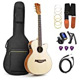 Vangoa 36'' 3/4 Size Spruce wood Cutaway Electric Folk Guitar Travel Guitar, 3 Band EQ with Truss Rod, Capo, 6 Strings, Guitar Cable, Accessories Pouch, 2 Band EQ Pickup, 36'' Cotton-Padded Guitar Bag