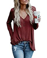 Beautife Womens Henley Shirts Fall V Neck Button Long Sleeve Loose Casual Knit Sweaters Tops