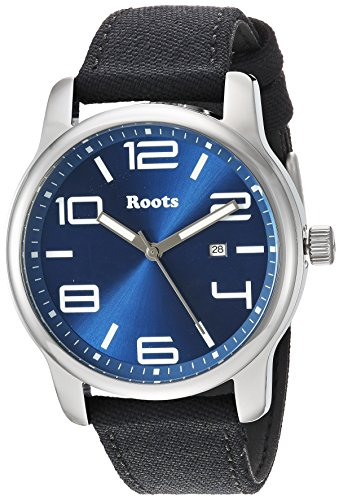 Roots Men's Core Stainless Steel Japanese-Quartz Watch with Canvas Strap, Black, 22 (Model: 1R-LF420BU6B) (Roots Canada Watch)