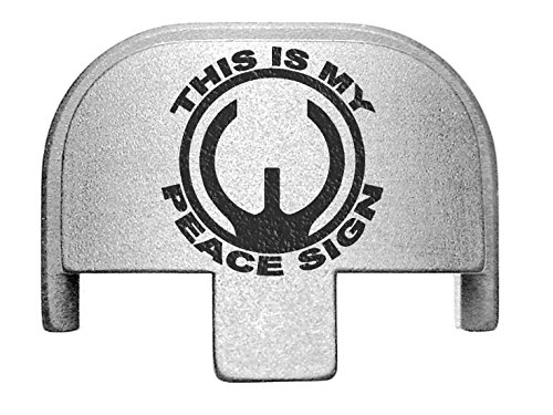 Peace Laser - NDZ Performance Rear Slide Cover Plate for Smith & Wesson Self Defense S&W SD9 SD40 VE 9mm .40 Silver Custom Laser Engraved Image: Peace Sign Sight Picture