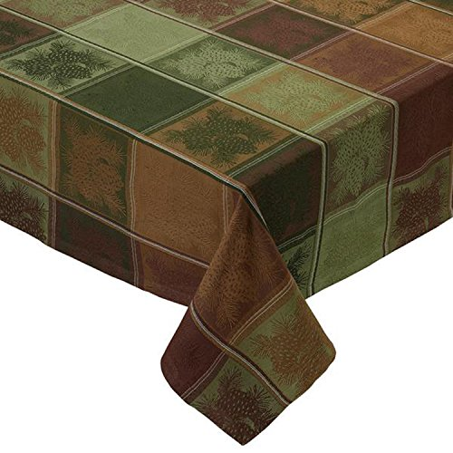(Design Imports Mountain Pine Cotton Table Linens, Tablecloth 52-Inch by 52-Inch Square, Mountain Pine Jacquard)