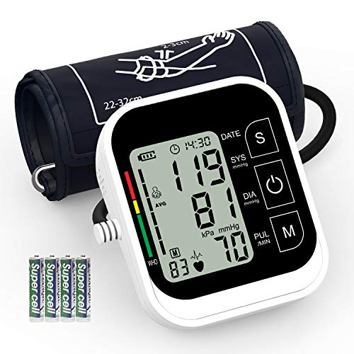 Blood Pressure Monitor, AUCEE Home Use Digital Automatic Upper Arm Measure Blood Pressure and Heart Rate Pulse with Wide-Range Cuff, Large 3.5'' LCD Screen, 2 x 99 Memories