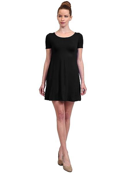 bb9d09bb55b6 NE PEOPLE Women s Solid Plain Simple U-Neck Short Sleeve A-Line ...