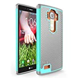 LG G4 Rugged Impact (Drop Protection) Hybrid Dual Layer (Shock Proof) Rubber Defender Hard Case Cover Shell by theMobileArea - Teal / Gray