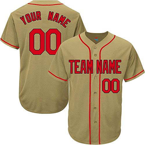 (Gold Custom Baseball Jersey for Men Women Youth Game Embroidered Team Player Name & Numbers S-5XL Red Black)