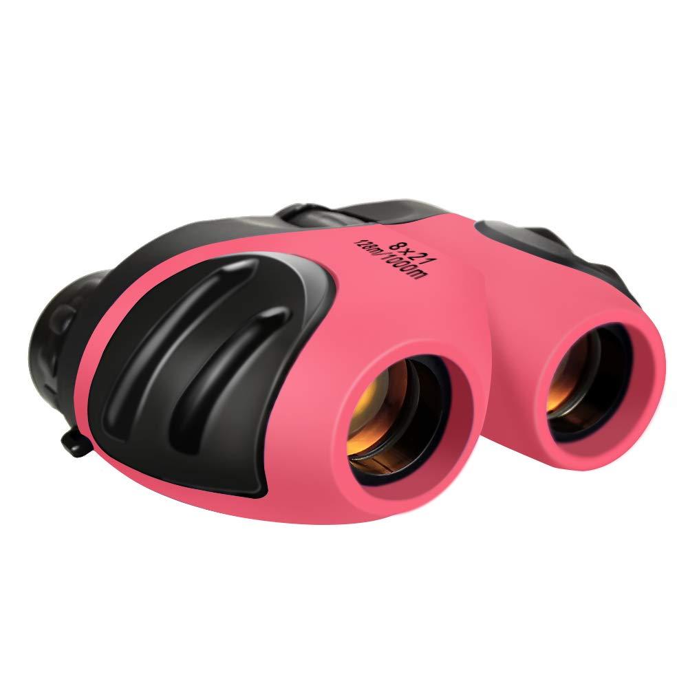 Juguetes para Ni/ñas de 3-12 A/ños DMbaby Binoculares Compactos Impermeables DMbaby para Ni/ños Regalos para Cumplea/ños de Ni/ña Adolescente Rosa DL10