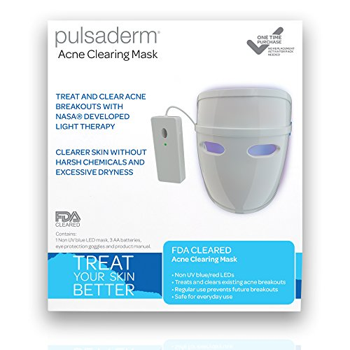 Pulsaderm--Acne-Clearing-Mask--Treats-Acne-Breakouts--Safe-for-Daily-Use--FDA-Cleared-LED-Light-Therapy-Mask--Prevents-Future-Breakouts--Lightweight-Mask--3-AA-Batteries-Included