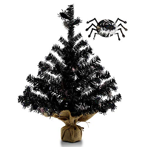 YuQi 18 inch Black Tinsel Halloween Tree,Small Tabletop Tree with Spider Shimmering Sequins and Burlap Base