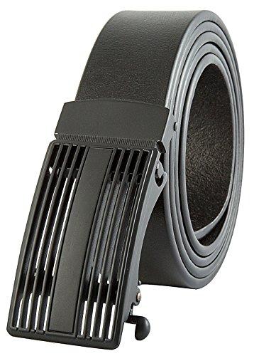 Men's Black Ratchet Belt - Black Shutter Style - 28-40
