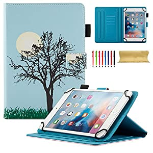 "Uliking Universal Case for 8 inch Tablet, Slim PU Leather Stand Folio Magnetic Cover for 7.5""-8.5"" Samsung Apple Touchscreen Andriod Windows ASUS,Acer,RCA,Dell,HP,etc,(Cards/Stylus Slots), Blue Tree"