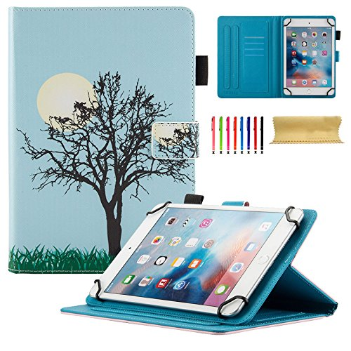 """Uliking Universal Case for 8 inch Tablet, Slim PU Leather Stand Folio Magnetic Cover for 7.5""""-8.5"""" Samsung Apple Touchscreen Andriod Windows ASUS,Acer,RCA,Dell,HP,etc,(Cards/Stylus Slots), Blue Tree"""