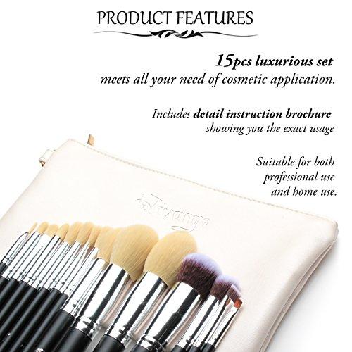 Qivange Makeup Brushes, Synthetic Eyeshadow Bronzer Foundation Brushes(15pcs, Black with Silver)
