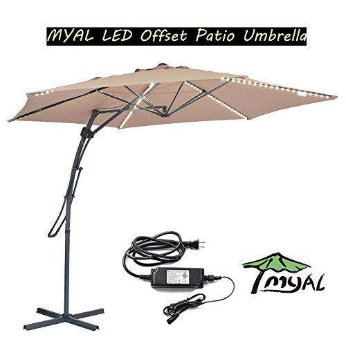 MYAL 9.8ft Offset Patio Umbrella Outdoor Umbrella with Light 180 LED Tan ()