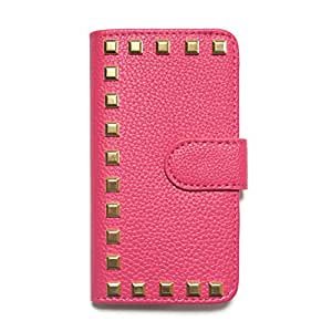 iPhone 6 iPhone 6s Case Flip case Diary-studs-004 (B) Wallet Case Slim Fit Heavy Duty Protection Screen Protector Grained pattern Studs Gold Square Verizon AT&T Sprint T-Mobile