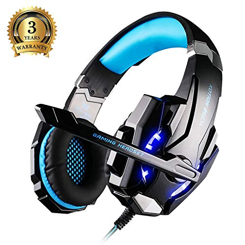 Gaming Headset, KOTION EACH PC Headphones with Mic LED Light Noise...