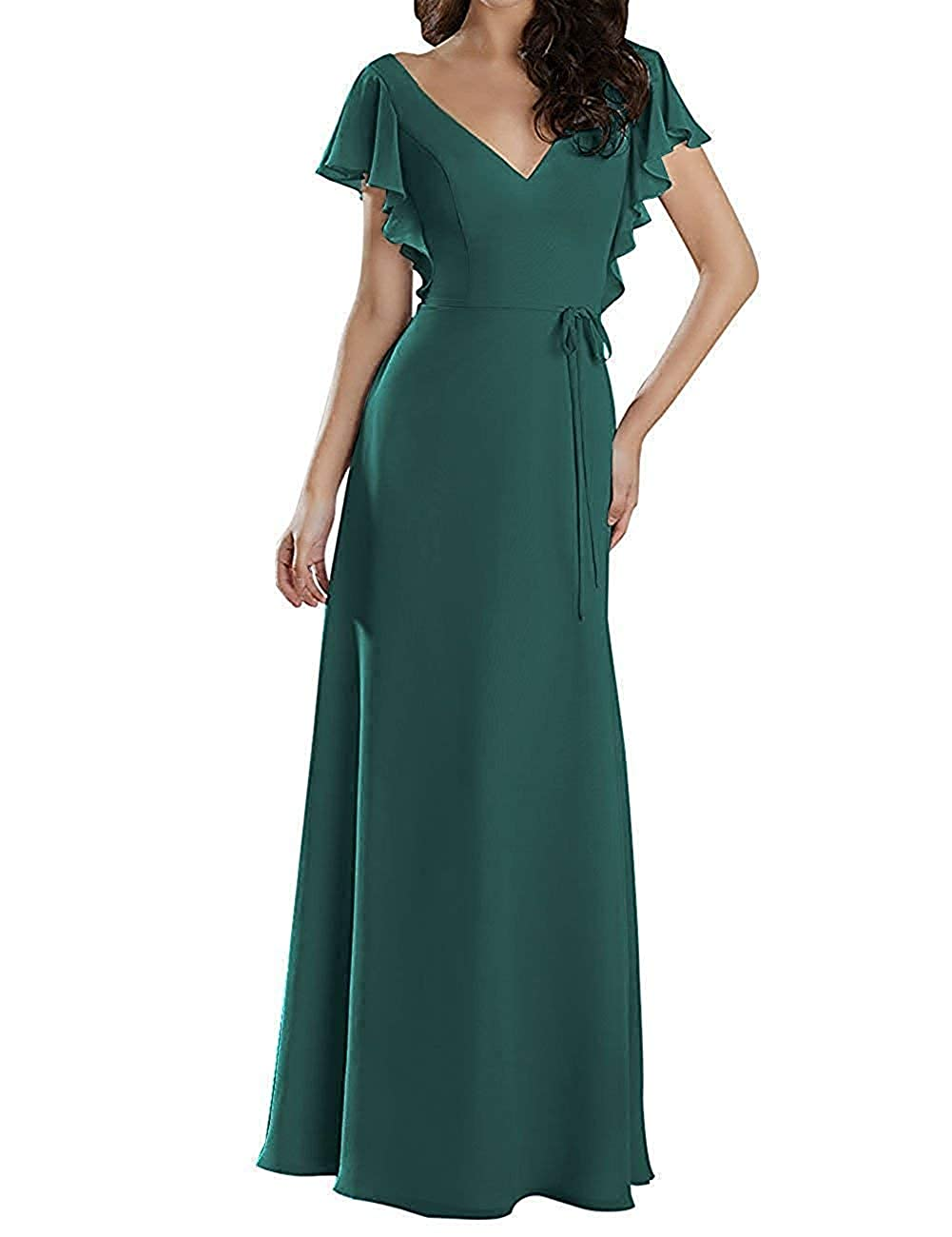 Green Mother of The Bride Dresses Plus Size Long Evening Gown with Short Sleeves Mother Dress for Wedding
