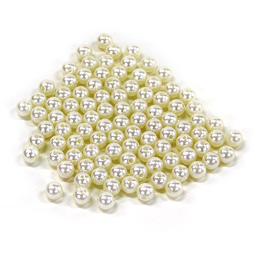 Bilipala 1 Pound Bulk Plastic Pearl Beads Craft Loose Beads with Hole , Ivory, 10mm (Pearl Beads Bulk)