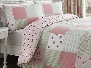 Dreams 'n' Drapes Patchwork - Juego de funda de edredón y fundas de almohada para cama de matrimonio, diseño de cuadros, color verde y rosa