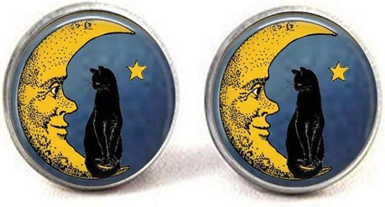 Antiqued Gold-tone Orange and Black Halloween Cat Print Glass Stud Earrings 12mm