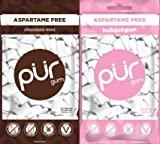 PUR Gum Aspartame-Free Bubblegum and Chocolate Mint, 2.72 Ounces each