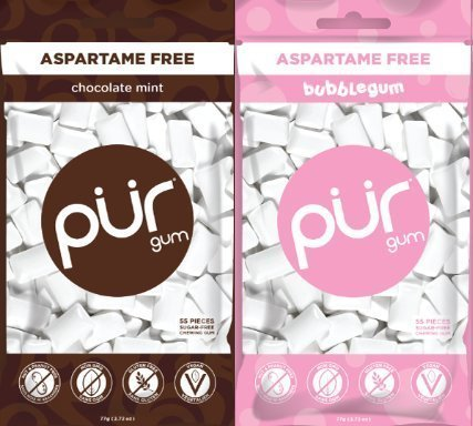 PUR Gum Aspartame-Free Bubblegum and Chocolate Mint, 2.72 Ounces each (Gum Chocolate)