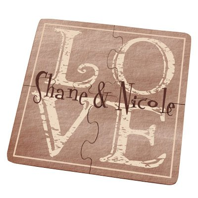 It's All About Love Personalized Coaster Puzzle, Separates into 4 Coasters, Cork Bottom