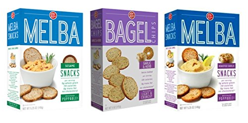 Naturals Roasted Garlic (Old London Melba Crackers and Bagel Chips 3 Flavor Variety Bundle: (1) Garlic & Herb Bagel Chips, (1) Sesame Melba Rounds, and (1) Roasted Garlic Crackers, 5-5.25 Oz. Ea. (3 Boxes))