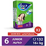 Fine Baby Diapers Green Fast Sorption, Junior 16+ Kgs, Mega Pack, 132 Count