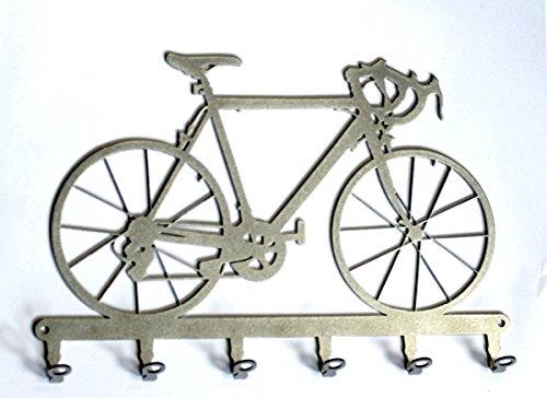 Touring Info Service (Key holder / hook - Racing bicycle - Bike - key hooks for wall - 6 hooks - metal - silver)
