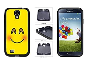 Bright Yellow Blushing Smiley Face TPU RUBBER SILICONE Phone Case Back Cover Samsung Galaxy S4 I9500