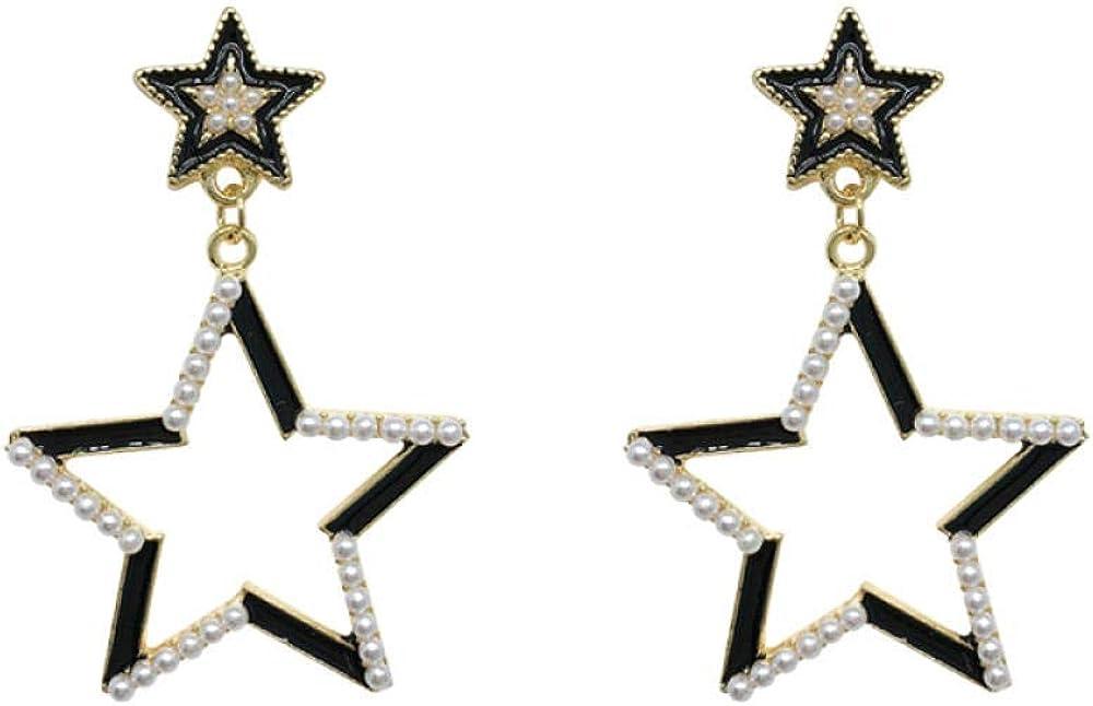 Aretes colgantes para mujer en plata de ley larga Pendientes de temperamento geométrico con personalidad de estrella perla Hipoalergénico Regalo hermoso y elegante SDHJMT