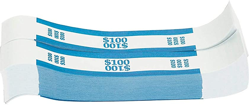 Bill Strap 1000 Per Box Various Amounts Amount 100 Currency Bands Office Products