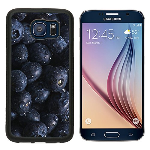 Sumsung S6 Metal Phone Case,MSD Bumper Custom Alum Case Design for fruit healthy sweet berry blue macro food fresh closeup juicy natural nature ripe isolated 941 Natural