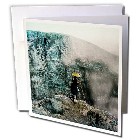 Scenes from the Past Magic Lantern Slides - Vintage Brave Explorer at Craters Edge Mt. Asama Japan Magic Lantern - 1 Greeting Card with envelope (gc_246533_5) - Vintage Explorer
