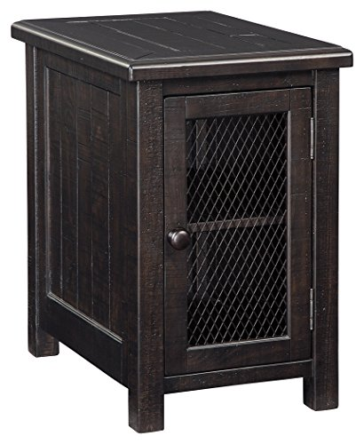 Chair Cabinet - Ashley Furniture Signature Design - Sharlowe Casual Chair Side End Table with Cabinet Storage - Charcoal