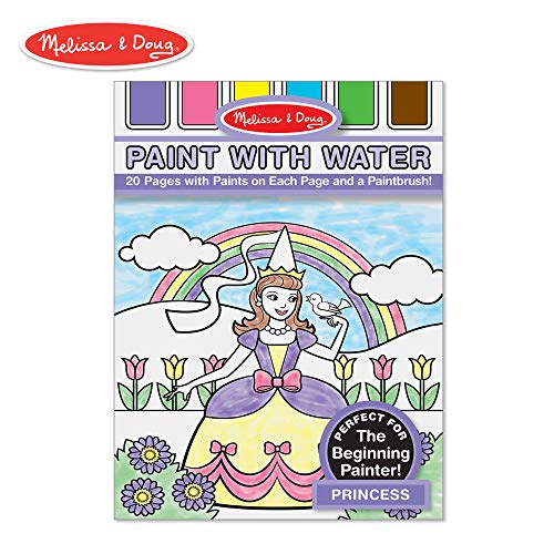 (Melissa & Doug Paint With Water - Princess, 20 Perforated Pages With Spillproof Palettes)