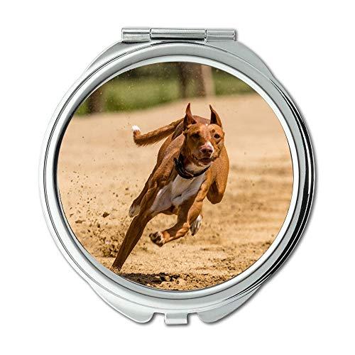 (Yanteng Mirror,Makeup Mirror,Dog Runs Dog Racing Dog Runs Action,Pocket Mirror,Portable Mirror)