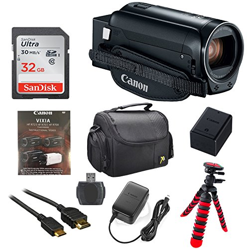 Canon Vixia HF R800 1080p HD Video Camera Camcorder (Black) with 32GB Card, Battery & Charger, Spider Tripod (Gorillapod), Case by 33rd Street Camera