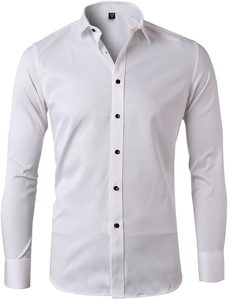 Harrms Camicia Elastica di bamb/ù Fibra per Uomo Slim Fit Camicie da Cerimonia Manica Lunga