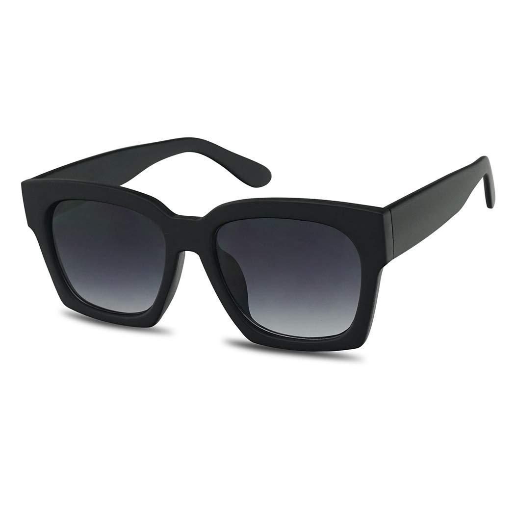 Super Oversize Casual Boyfriend Sunglasses for Women 54mm Frames with Dark Black Lens - Street High Fashion Sunnies (Matte Black Frame | Gradient) by SunglassUP