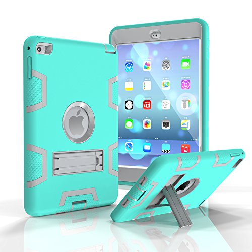 iPad Mini 4 Case, SinYong Kickstand Shock-Absorption High Impact Resistant Hybrid Case Three Layer Protective case Cover for iPad Mini 4 - mint green+Grey
