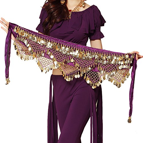 Pilot-tradeWomen's Sweet Bellydance Hip Scarf With Gold Coins Skirts Wrap Noisy Purple -