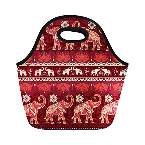 Semtomn Lunch Tote Bag Ethnic Elephants India Animal Border Ornate Black Doodle Mammal Reusable Neoprene Insulated Thermal Outdoor Picnic Lunchbox for Men Women