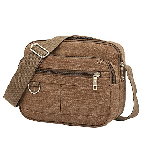 Multi Shoulder Messenger Coffee Bag Men pocket Crossbody Canvas Casual Widewing Fashion 8q4tpY