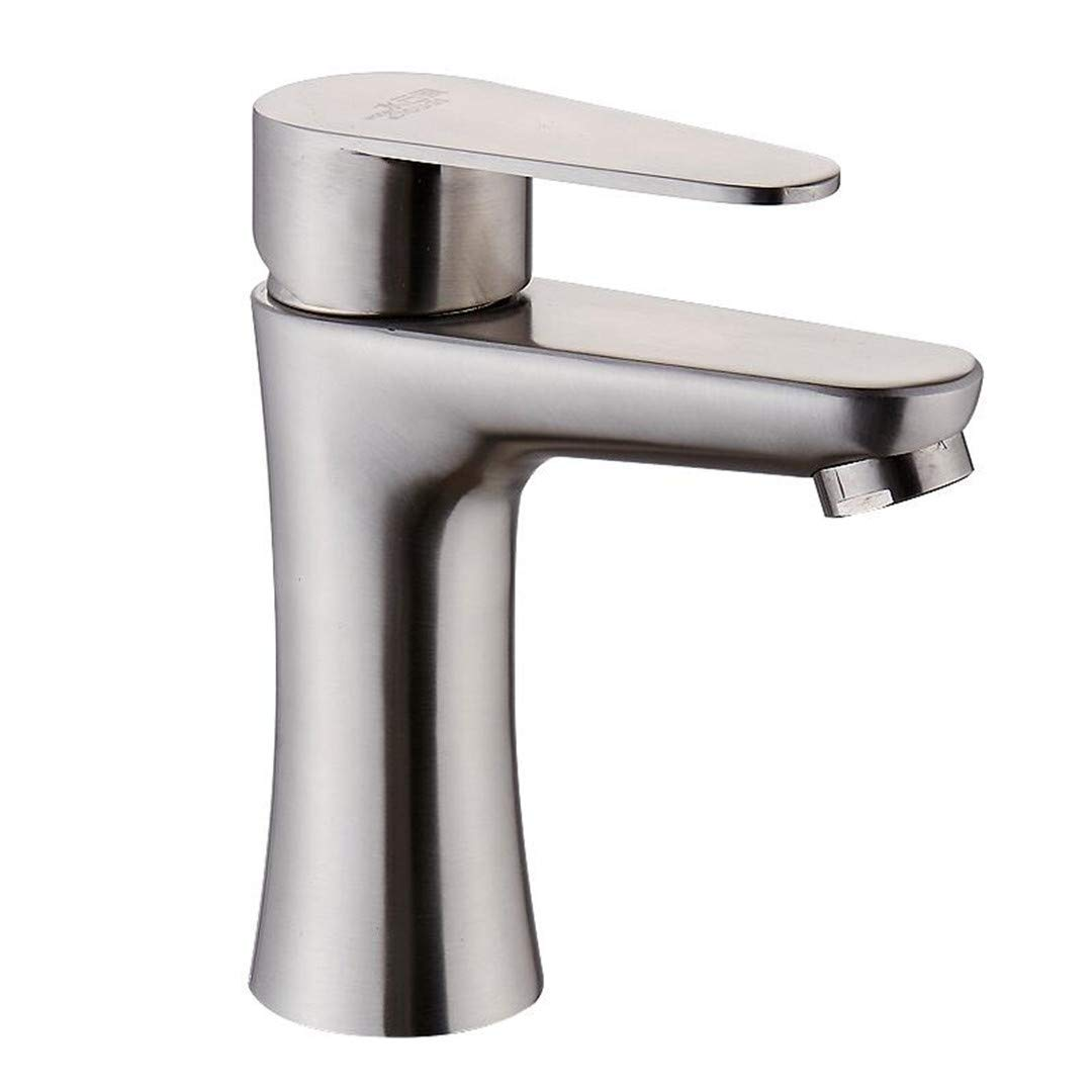 Oudan Faucet Basin Faucet304 Stainless Steel Faucet Single Hole Basin Hot and Cold Water Bathroom Wash Basin Bathroom Cabinet redatable Faucet (color   -, Size   -)
