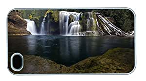Hipster custom iPhone 4 case river waterfall PC White for Apple iPhone 4/4S